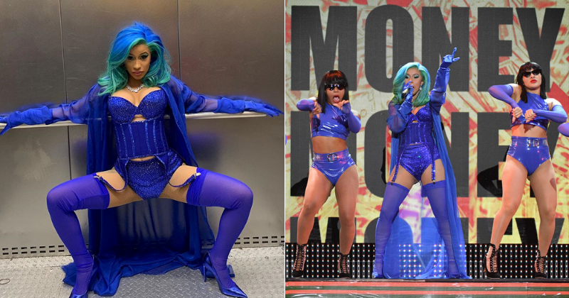Cardi B jokes she's a 'little porn star' as she performs in racy blue lingerie and fishnet tights