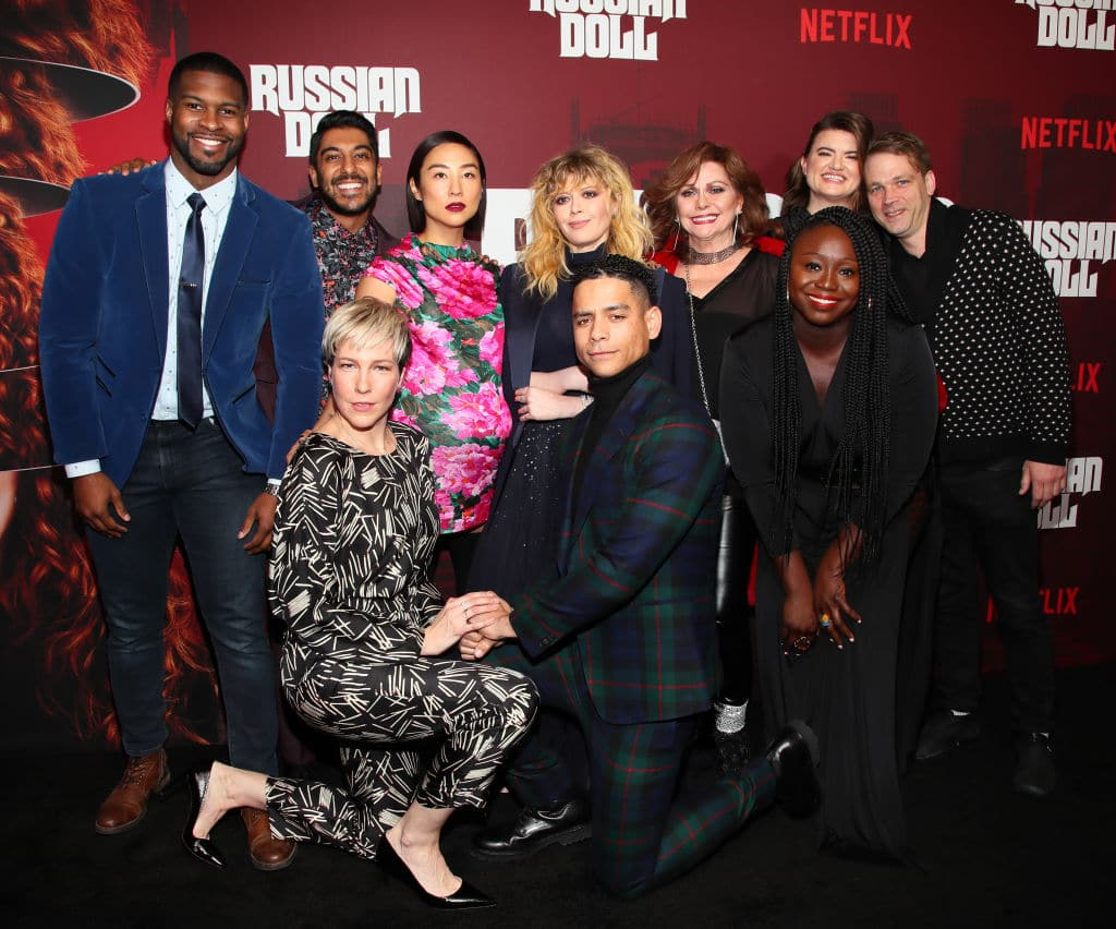 Branden Wellington, Ritesh Rajan, Rebecca Henderson, Greta Lee, Natasha Lyonne, Charlie Barnett, Elizabeth Ashley, Leslye Headland, Jocelyn Bioh and Brendan Sexton III attend 'Russian Doll' Premiere at The Metrograph on January 23, 2019 in New York City. (Photo by Astrid Stawiarz/Getty Images for Netflix)