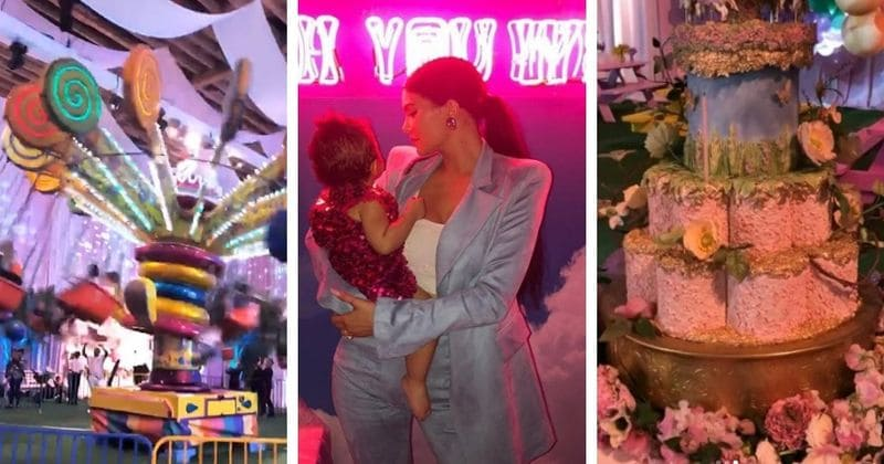 Kylie Jenner throws an epic first birthday party for daughter Stormi complete with carnival rides and a butterfly rainbow forest