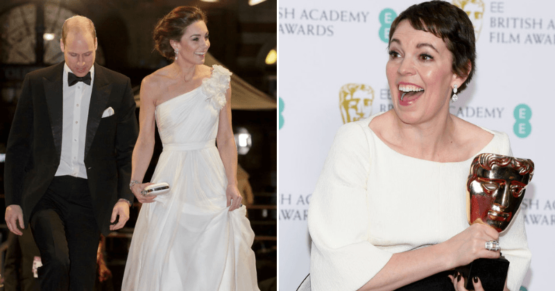 Kate Middleton dazzles in an Alexander McQueen as she congratulates BAFTA Best Actress Olivia Colman