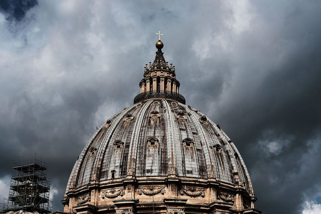 St. Peter's Basilica stands in Rome on August 31, 2018, in Vatican City, Vatican. Tensions in the Vatican are high following accusations that Pope Francis covered up for an American ex-cardinal accused of sexual misconduct. Many Vatican insiders see the dispute as an outgrowth of the growing tension between the left-leaning Pope and the more conservative and anti-homosexual faction of the Catholic Church. (Photo by Spencer Platt/Getty Images)