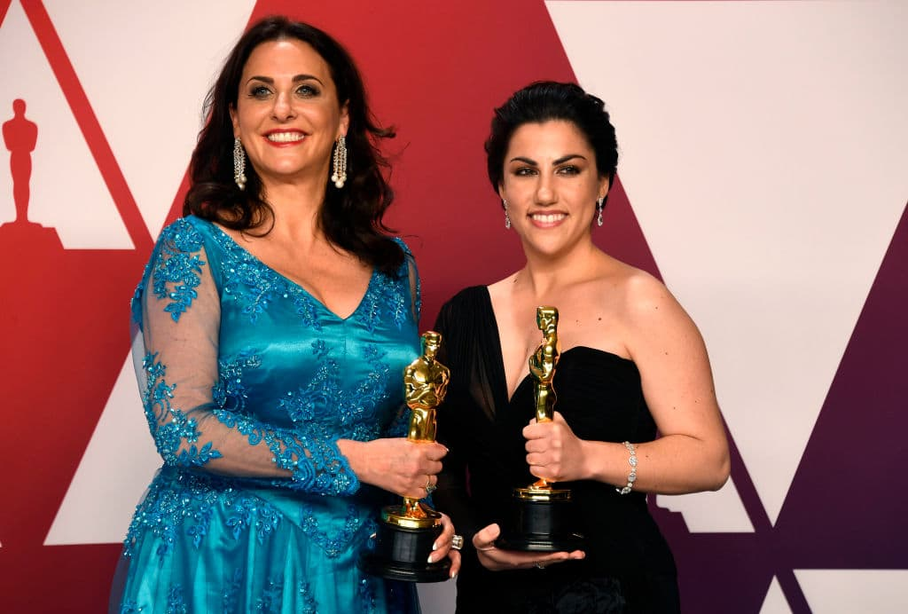 Melissa Berton and Rayka Zehtabchi, winners of Best Documentary Short Subject for 'Period. End of Sentence.,' pose in the press room during the 91st Annual Academy Awards at Hollywood and Highland on February 24, 2019 in Hollywood, California. (Photo by Frazer Harrison/Getty Images)