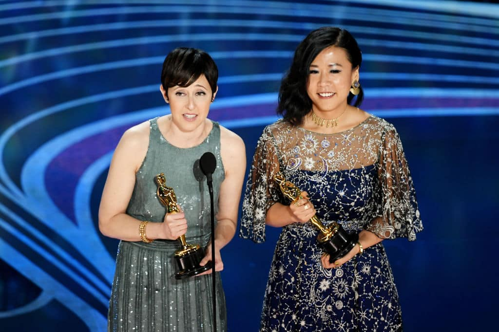 Becky Neiman-Cobb and Domee Shi accept the Short Film (Animated) award for 'Bao' onstage during the 91st Annual Academy Awards at Dolby Theatre on February 24, 2019 in Hollywood, California. (Photo by Kevin Winter/Getty Images)