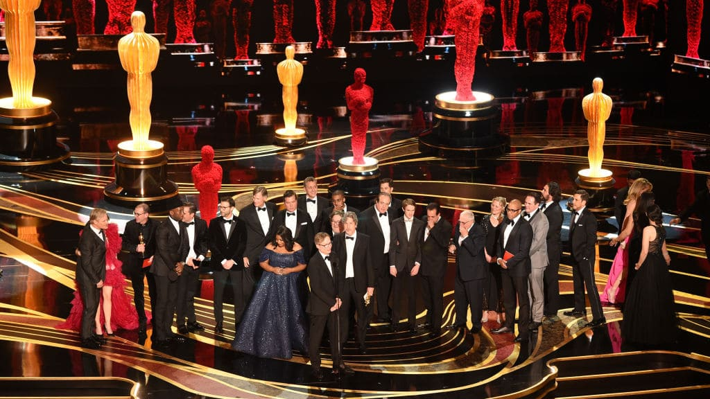 Cast and crew of 'Green Book' accept the Best Picture award onstage during the 91st Annual Academy Awards at Dolby Theatre on February 24, 2019 in Hollywood, California. (Photo by Kevin Winter/Getty Images)