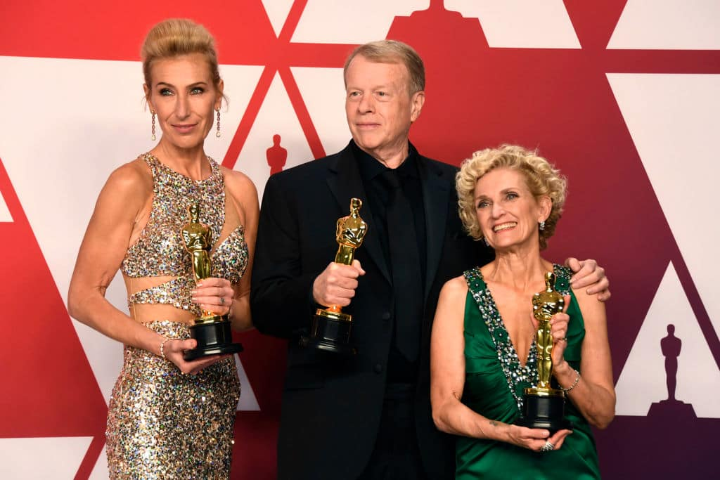 (L-R) Kate Biscoe, Greg Cannom and Patricia Dehaney, winners of Best Makeup and Hairstyling for 'Vice,' pose in the press room during the 91st Annual Academy Awards at Hollywood and Highland on February 24, 2019 in Hollywood, California. (Photo by Frazer Harrison/Getty Images)