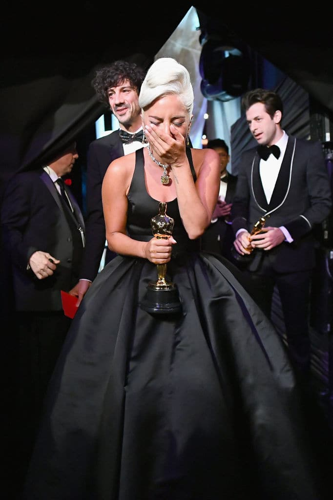 Lady Gaga poses with the Music (Original Song) award for 'Shallow' from 'A Star Is Born' backstage during the 91st Annual Academy Awards at the Dolby Theatre on February 24, 2019 in Hollywood, California. (Photo by Matt Petit - Handout/A.M.P.A.S. via Getty Images)