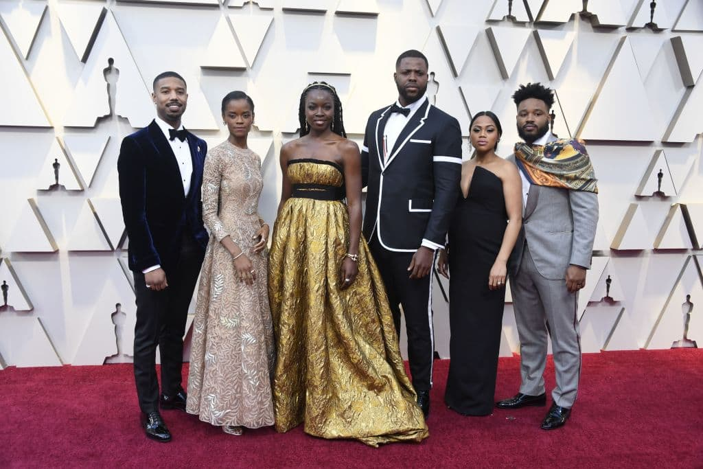 Michael B. Jordan and Black Panther cast attends the 91st Annual Academy Awards at Hollywood and Highland on February 24, 2019 in Hollywood, California. (Photo by Frazer Harrison/Getty Images)