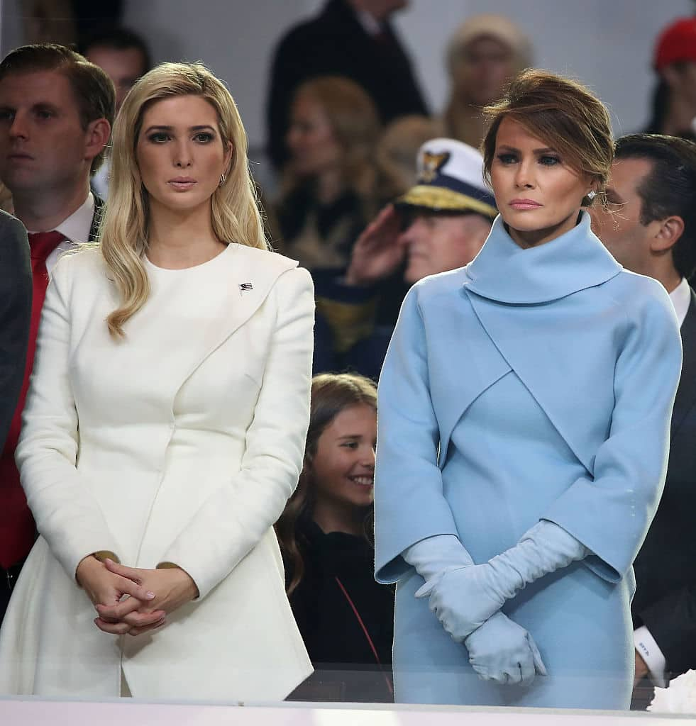 The Message Behind Melania And Ivankas Fashion Choices Meaww Jfashion Korean Style Double Layer Blouse Ivanka Inauguration Day January 20 2017 In A Tiffany Blue Ralph Lauren Ensemble Picked An Ivory Oscar De La Renta Pantsuit For Event