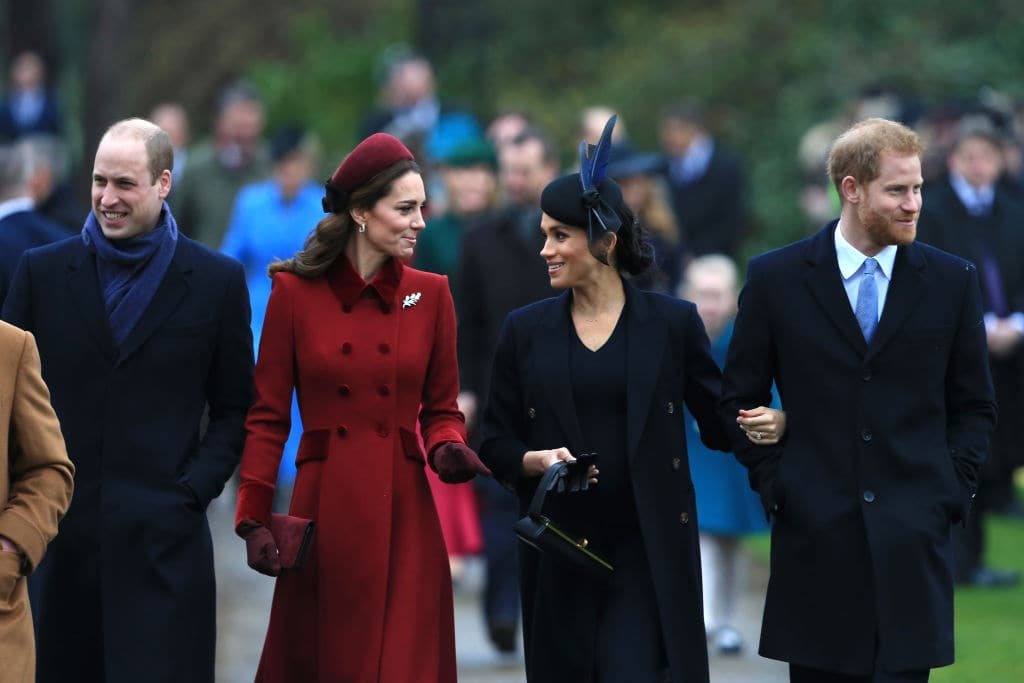 Prince William, Duke of Cambridge, Catherine, Duchess of Cambridge, Meghan, Duchess of Sussex and Prince Harry, Duke of Sussex arrive to attend Christmas Day Church service at Church of St Mary Magdalene on the Sandringham estate on December 25, 2018, in King's Lynn, England. (Photo by Stephen Pond/Getty Images)