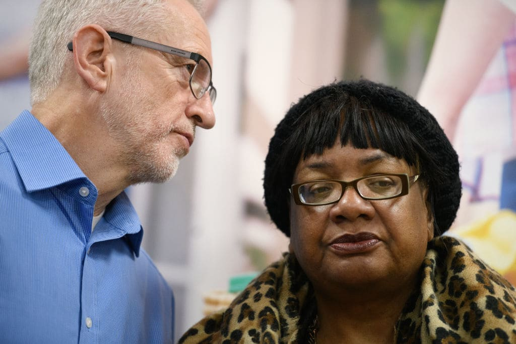 Labour Party leader Jeremy Corbyn and Shadow Home Secretary Diane Abbott visit Finsbury Park mosque on 'Visit Your Mosque Day', on March 03, 2019 in London, England. A man was killed near the mosque during an attack by far right extremist Darren Osborne in June 2017.