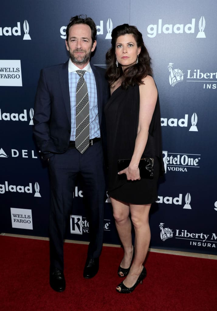 From left, actor Luke Perry and Wendy Madison Bauer celebrate achievements in the LGBTQ community at the 28th Annual GLAAD Media Awards, sponsored by LGBTQ ally, Ketel One Vodka, in Beverly Hills on April 1, 2017. (Photo by Neilson Barnard/Getty Images for Ketel One Vodka)