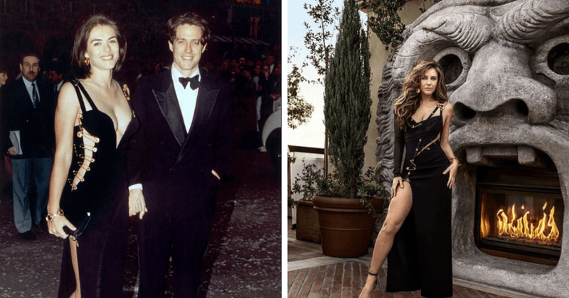 080b4d01e01 Elizabeth Hurley recreates iconic Versace safety pin dress look 25 years  after Four Weddings red carpet