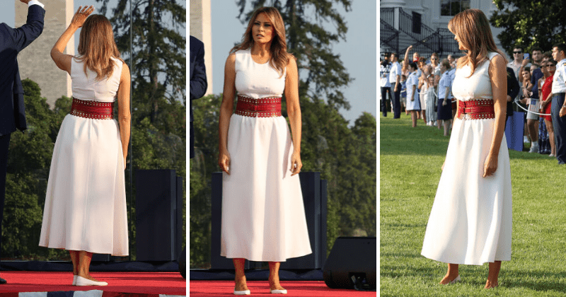 Melania Trump stuns in ethereal white 4th of July outfit after being mocked for bizarre Mount Rushmore dress