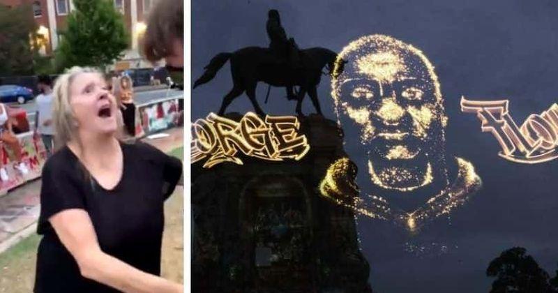 Virginia 'Karen' calls man the n-word after watching George Floyd's hologram projected onto Robert E Lee statue
