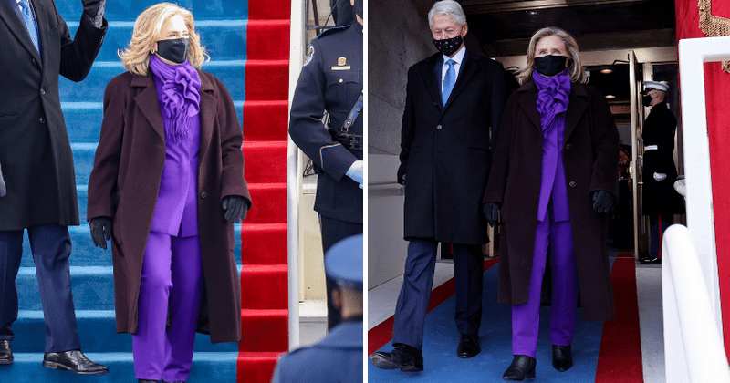 Hillary Clinton arrives in 'hideous' purple pantsuit for Biden inauguration,  Internet says she 'needs a new stylist' | MEAWW