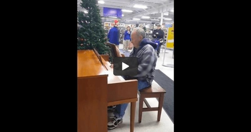 An elderly man sat down at a Goodwill piano, what happens next will leave you in tears