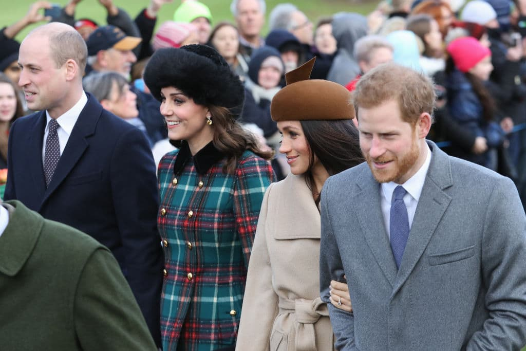 Prince William, Duke of Cambridge, Catherine, Duchess of Cambridge, Meghan Markle and Prince Harry attend Christmas Day Church service at Church of St Mary Magdalene