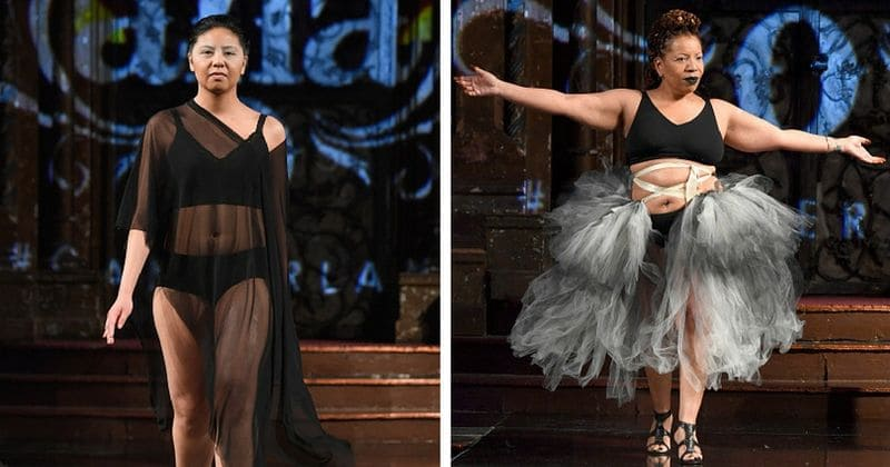 Breast cancer survivors take the ramp to walk in lingerie at NYFW