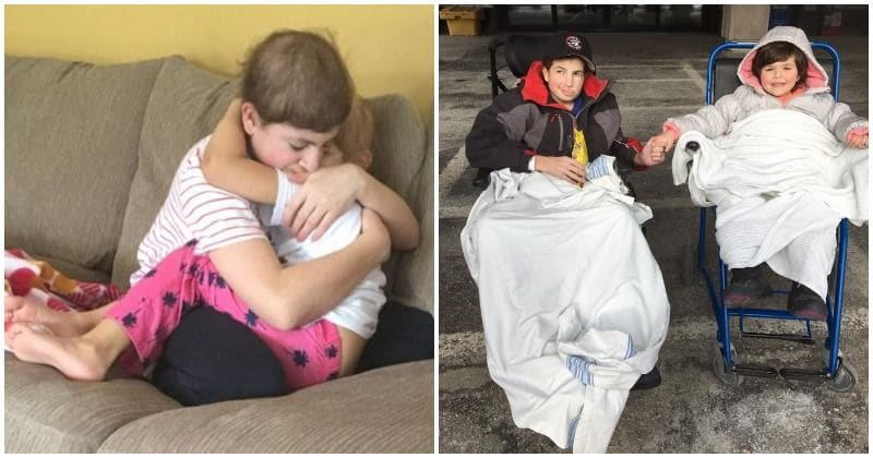 photo of two siblings fighting cancer and hugging in hospital room